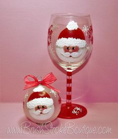Hand Painted Wine Glass Ornament Set  Santa by BrushStrokeBoutique