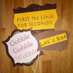 Thanksgiving Glitter Photo Booth Party Props / Signs / Gobble