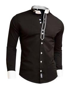 Designer Men Casual Formal Double Cuffs Grandad Band Collar Shirt Elegant Tie DR: Amazon.co.uk: Clothing