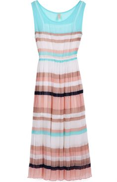 I actually might buy this dress! very cute...Blue Pink Sleeveless Striped Pleated Chiffon Dress - Sheinside.com