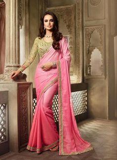 Light Pink  Chiffon & Shimmer Saree Designer Sarees ,Indian Dresses - 1