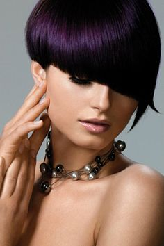 Eggplant hair color would look so good on me ! Dark Plum Hair, Dark Purple Hair Color, Bold Hair Color, Hair Dye Colors, Purple Pixie, Purple Bob, Plum Color, Black Plum, Red Burgundy