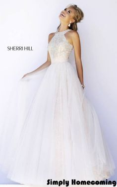 2016 Ivory Sherri Hill 32218 Lace Evening Gown