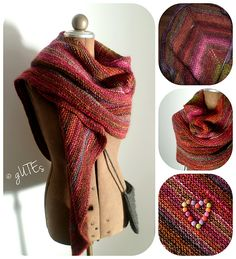 Simple Yet Effective Shawl by Laura Chau which is a FREE pattern on Ravelry and knit in a 12ply bulky ~ however this version Smarties Triangle shawl by gUTE's is knit in the Noro Silk Garden Yarn in 10ply Aran ~ love it!