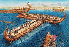 La Pintura y la Guerra. Sursumkorda in memoriam Greek History, Roman History, Ancient History, Ancient Rome, Ancient Greece, Battle Of Salamis, Greco Persian Wars, Punic Wars, Old Sailing Ships