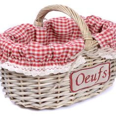 Panier à oeufs en osier + housse en tissu vichy rouge + broderie - par Plus-deco sur alittlemarket.com