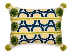Blue / Green Crewel Embroidered Cotton Cushion Cover with Pom Poms
