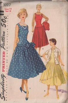 MOMSPatterns Vintage Sewing Patterns - Simplicity 1077 Vintage 50's Sewing Pattern BRILLIANT Retro Rockabilly Square Neck Party Gown, Pleated Full Skirt, Crumb Catcher Band & Bow, Jacket Top Size 14