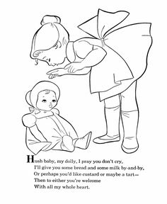 BlueBonkers - Nursery Rhymes Coloring Page Sheets - Hush Baby