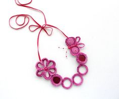 Hey, I found this really awesome Etsy listing at http://www.etsy.com/listing/153517393/crochet-pink-necklace-beaded-necklace