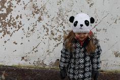 handmade knitted panda beanie
