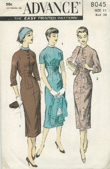 An original ca. 1950's Advance Pattern 8045.  The important Empire silhouette:  Empire line sheath dress has cropped jacket.  Collarless jacket is lined.  Front has interesting closing, narrow band at edge.  Both dress and jacket have body and sleeve in one.  Dress has jewelry neckline, detachable turtleneck collar, Side slits at skirt hem.  Button band trim, back zipper closing.