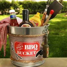 Our printable template, a steel utility pail and a few simple supplies from the craft store creates the perfect DIY BBQ bucket gift for dad!