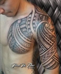 shoulder and sleeves tribal tatoo
