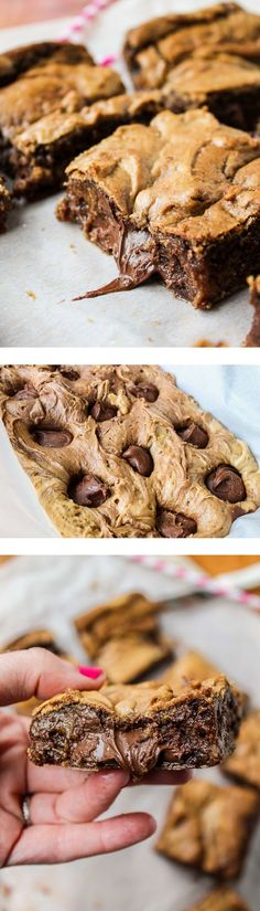 Soft, buttery blondies, stuffed with NUTELLA! Brown the butter first for amazing Soft, buttery blondies, stuffed with NUTELLA! Brown the butter first for amazing. Just Desserts, Delicious Desserts, Yummy Food, Tasty, Amazing Dessert Recipes, Desserts Nutella, Yummy Treats, Sweet Treats, Brownie Recipes