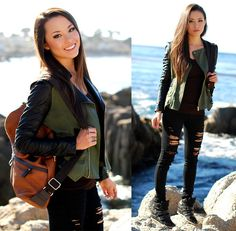 Choies Olive Military Jacket, Daily Look Backpack, Bullhead Black Ripped Denim
