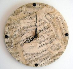 Music Wall Clock, Vintage Sheet Music, Chopin, black, cream, One of a Kind Music themed clock, 12 inch round from jensdreamdecor on #etsy