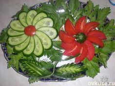 Breakfast tables are blooming flower ideas) - FOOD ART - Veggie Art, Fruit And Vegetable Carving, Vegetable Salad, Vegetable Trays, Cucumber Flower, Fruits Decoration, Decorations, Deco Fruit, Veggie Platters