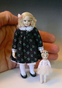 1:12 Scale Dollhouse Toddler With Her Ballerina by Debbie Dixon-Paver Dolls