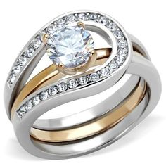 UNISEX HCJ SILVER STAINLESS STEEL 1.25 CT SOLITAIRE CZ ENGAGEMENT RING SIZE 9