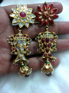 Earring Tops with Fish double side Rubies and flat Diamonds (polki)