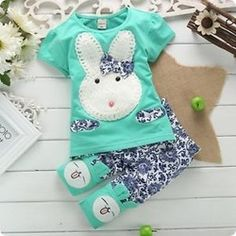 Ucuz  Doğrudan Çin Kaynaklarında Satın Alın:  2pc yeni bebek çocuk top+short pantolon set giysileri sevimli tavşan boyutu: 1-4 yaş