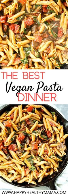 This easy vegan pasta dinner is delicious!! Made with penne, spinach, tomatoes, and mushrooms, it's so flavorful!