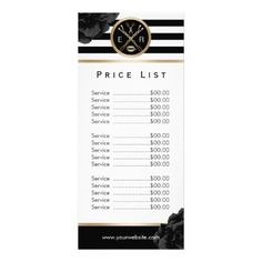makeupartist beauty salon black floral modern stripe price list rack card salon price