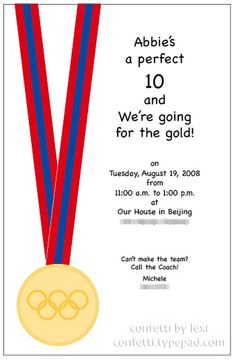 Diy free printable invite olympics party desserts parties a perfect 10 olympic email invite follow link for matching cake stopboris Gallery