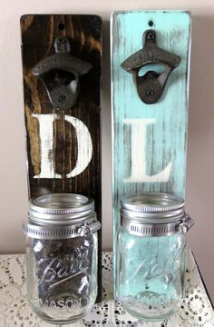 This listing is for a wall mounted bottle opener. The rustic bottle opener looks great in any entertainment space and makes for a great gift. It is(Beer Bottle Painting) Diy Bottle Opener, Wall Mounted Bottle Opener, Beer Bottle Opener, Pot Mason, Ball Mason Jars, Mason Jar Crafts, Reclaimed Wood Projects, Beer Gifts, Diy Gifts