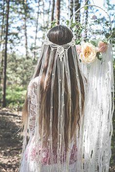Shower Accessories, Wedding Accessories, Boho Hair Accessories, Macrame Headband, Headband Hair, Hair Updo, Mode Hippie, Bohemian Bride, Hippie Bride
