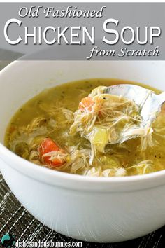 Try this amazing old fashioned homemade chicken soup made completely from scratch! The recipe uses a whole chicken and fresh veggies. It's the only way I make chicken soup now!