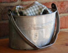 Vintage Buckeye Aluminum Miner's Bucket - Rustic Industrial Aluminum Lunch Pail -  Vintage American Worker's Lunch Tin - Farmhouse Bucket