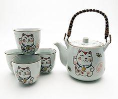 Japanese Lucky Cat Maneki Neko Tea Set Ceramic Teapot with Rattan Handle and 4 Tea Cups (White) Anime Cat, Maneki Neko, Ceramic Teapots, Tea Set, Rattan, Tea Cups, Japanese, Ceramics, Cats