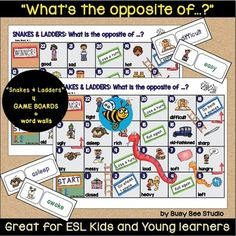 """ESL Resources: Snakes and Ladders """"What's the opposite of ..."""""""