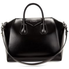 Givenchy Antigona Medium Black Leather Tote ($715) ❤ liked on Polyvore featuring bags, handbags, tote bags, purses, bolsas, givenchy, hand bags, leather zipper tote, leather tote purse and leather purses