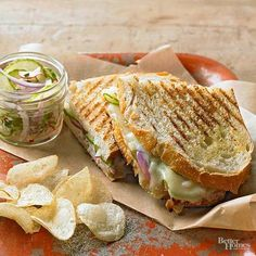 For lunch, there's nothing better than a grilled sandwich. If you're bored with your usual, try one of these delicious and creative sandwich recipes, like the turkey taco panini, smoked gouda and apricot melts, or the Italian chicken sandwich. These comforting sandwiches are so tasty, you'll want to make them for dinner, too!