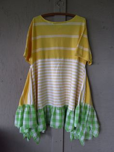 Romantic summer dress/Funky Lagenlook tunic dress/upcycled clothing/Eco repurposed T shirt/Bohemian Artsy Dress/Boho gypsy X large-1X    Perfect for spring and summer, wear as a dress or tunic with capris, a skirt or bloomer shorts .......... casual and comfy............for work or play    Made with up cycled cotton T shirts and vintage cotton blend gingham    Colors........shades of yellow, white, green    Frayed, raw and zigzagged edges.    Gentle cold water wash.  ...