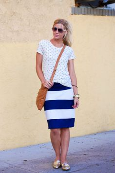 Elle Apparel: ANCHORS AWAY // STRIPED KNIT PENCIL SKIRT TUTORIAL