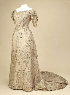 Evening Dress of Empress Alexandra Fyodorovna, Auguste Brisac's Workshop, St Petersburg, Russia, early 20th century, silk and metal thread, silk, brocade, spangles and glass beads; embroidered.