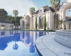 Luxury Palace ( Riyadh ) on Behance Classic House Design, 3d Home Design, Villa Design, White Mansion, Classic Building, Moroccan Design, Mansions Homes, Modern Architecture House, Riyadh
