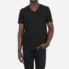 """Our classic V-neck style in a textured slub fabric Regular fit, take your usual size Size up if a looser fit is desired Model shown here is 6'0"""" and wearing a medium Question? Email fit@everlane.com."""