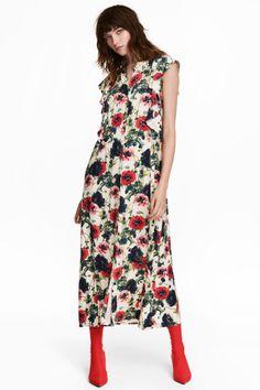 Платье с рисунком - Натуральный белый/Цветы - Женщины | H&M RU 1