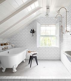 White Attic Bathroom. Tub is IN the shower. Awesome window too.
