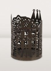 Enjoy the play of village shadows created by this rounded mood candleholder. Artisans from Noah's Ark in India hand-cut the intricate pattern out of dark tinted iron. Beautiful and whimsical. Fair Trade, Light Up, Bookends, Whimsical, Candle Holders, Artisan, Candles, Create, Holiday Decor
