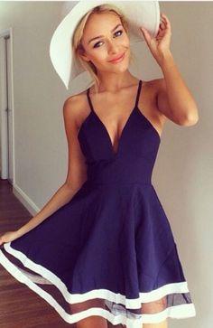 Sexy spaghetti strap sleeveless low cut spliced women's dress #dress #buyable