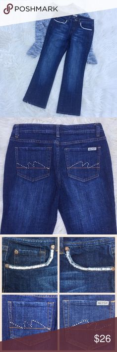 Max Studio rhinestone jeans Super awesome pair of Max Studio jeans with stunning rhinestone trim around the front pockets and rhinestone designs on the back pockets. Max Studio Jeans Ankle & Cropped