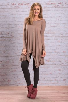 """""""Surely A Dream Dress, Mocha"""" Surely this is a dream! This dress can't actually be real! This ruffled hemline dress is just too good to be true!  #newarrivals #shopthemint"""