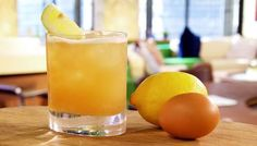 Whisky Sour: 1 small free-range organic egg, white only 2 tsp caster sugar 1 tsp vanilla syrup 1 small lemon, juice only 50ml/2fl oz Bourbon 2 dashes bitters  Shake all ingredients up then strain into a tumbler with ice.