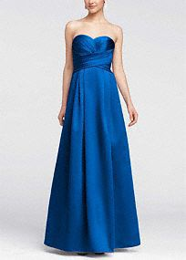 Elegant and timeless, this satin number will look fabulous on your bridesmaids! Strapless dress features stunning and ultra-flattering pleated bodice. Full long skirt ... Learn more